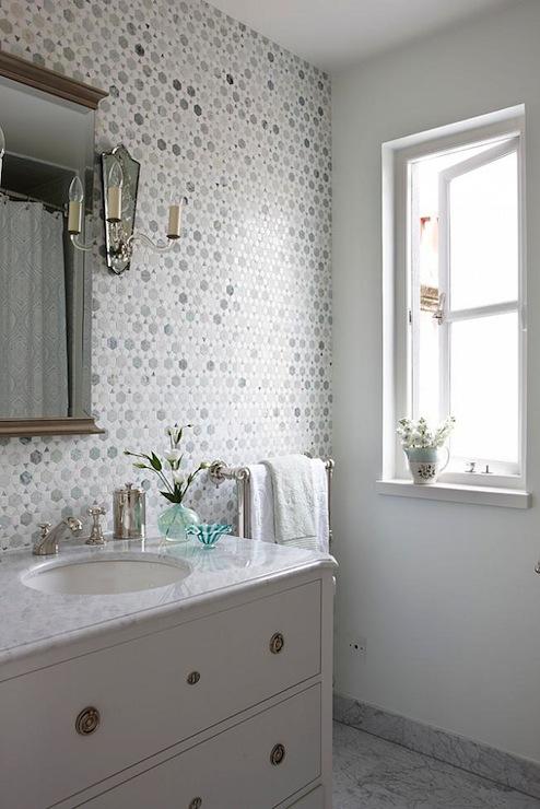 Sunflower Carrara Thassos Tile Transitional Bathroom