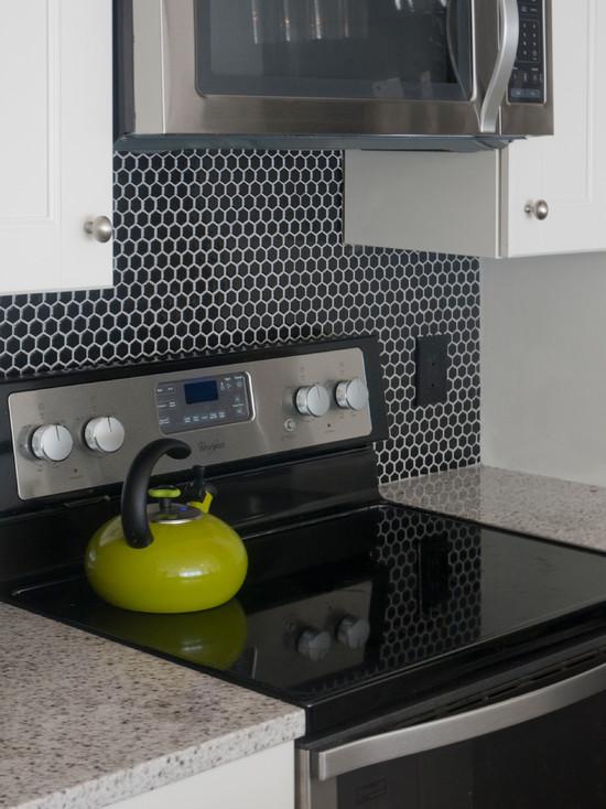 Black Hex Tile Contemporary Kitchen Benjamin Moore White Dove Sabbe Interior Design