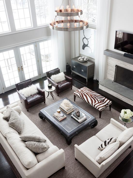 Zebra Bench Transitional Living Room Susan Glick