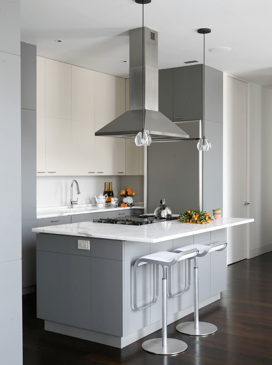 White Upper Cabinets And Gray Lower Cabinets Contemporary Kitchen Wettling Architects