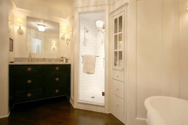 Corner Linen Cabinet - Transitional - bathroom - Walker ... on Corner Sconce Shelf Cabinet id=11975
