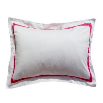 hot pink border white standard sham