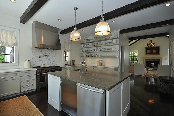 Mini Fridge In Kitchen Island Transitional Kitchen HAR
