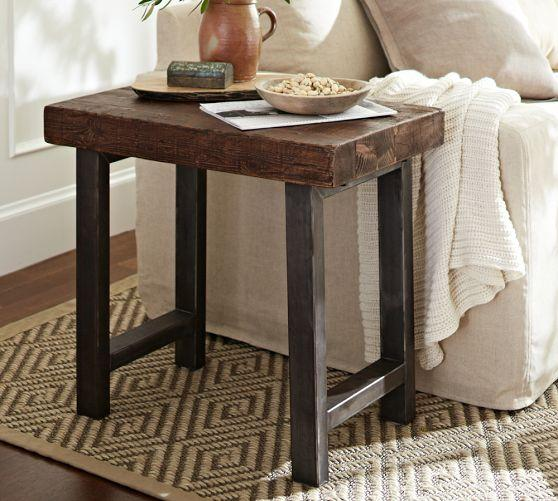 reclaimed wood top iron legs side table
