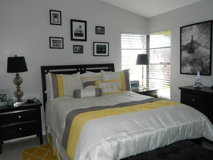 Yellow And Gray Bedroom With Black Furniture