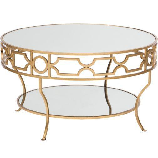 round gold detail trim mirrored top
