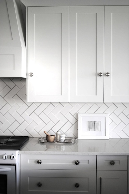 Herringbone Subway Tile Pattern Transitional Kitchen Urban Grace Interiors