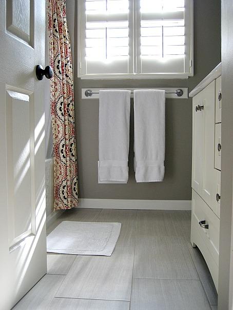 Porcelain Tiles Look Like Wood Transitional Bathroom Sherwin Williams Mega Greige