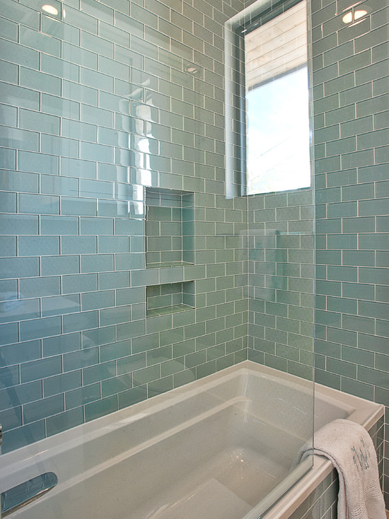 Blue Glass Subway Tiles Contemporary Bathroom Glynis Wood Interiors