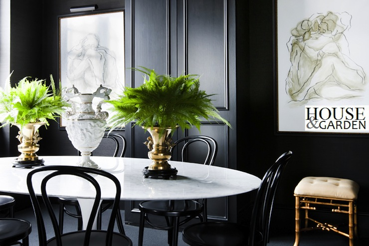 Marble Saarinen Dining Table Contemporary Dining Room
