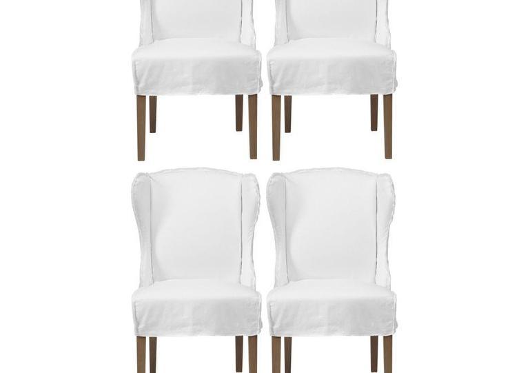 Set Of 4 Maddox White Slipcovers Winged Chairs