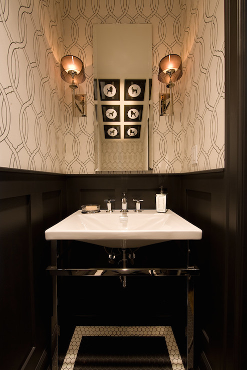 Black Wainscoting Contemporary Bathroom Kelly Deck