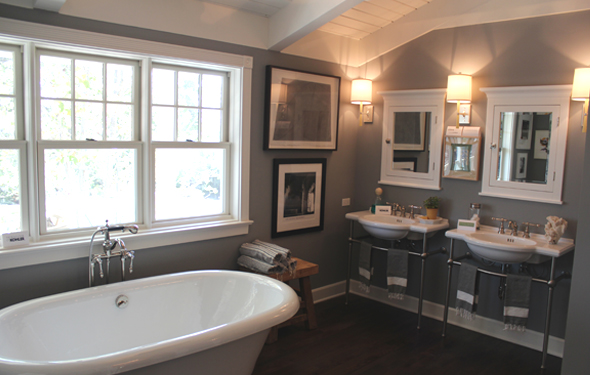 Stunning Bathroom With Dark Gray Wall Color And Dark