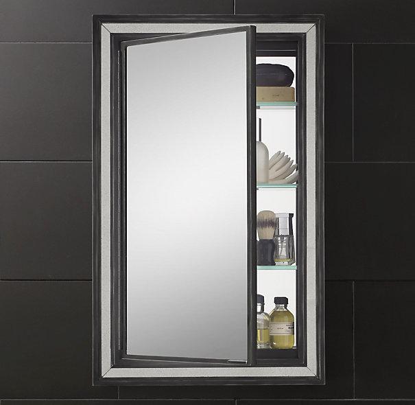 Black Border Strand Mirrored Medicine Cabinet