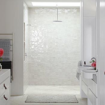 white iridescent basketweave tiles