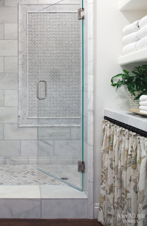 Basketweave Shower Curtain Transitional Bathroom Tracery Interiors