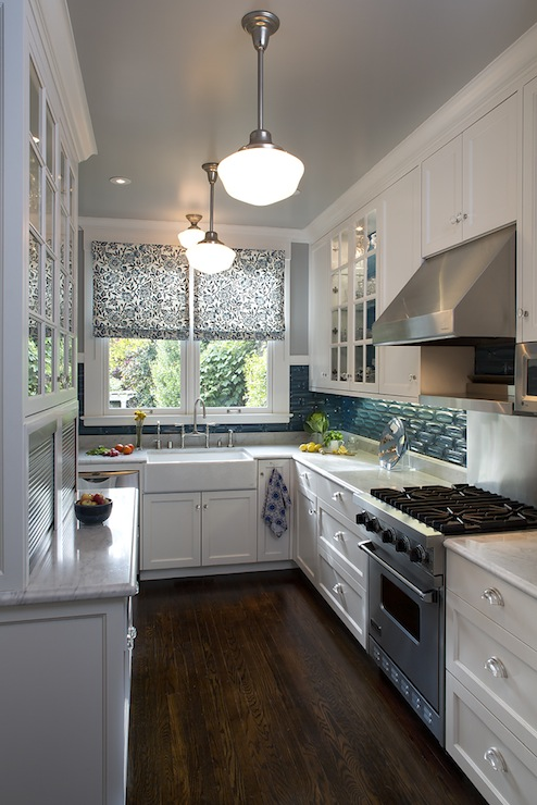 Teal Glass Tiles Contemporary Kitchen Artistic
