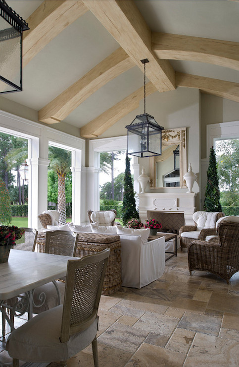 Sunroom With Fireplace French Deck Patio Yawn Design