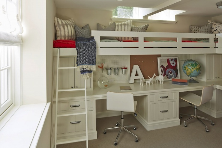 Kids Built In Bed Transitional Girls Room