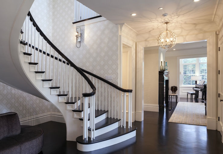 Spiral Staircase Contemporary Entrance Foyer Markay Johnson | Dark Wood Stair Treads | Timber | White Handrail | Dark Stained | Natural Wood | Wood Finish