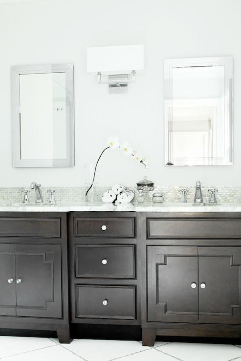 Dark Brown Washstand Transitional Bathroom Benjamin
