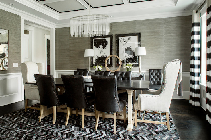 Horizontal Striped Curtains Contemporary Dining Room
