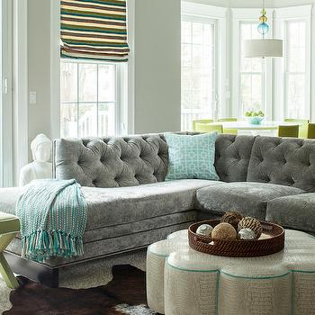gray sofa with turquoise piping design