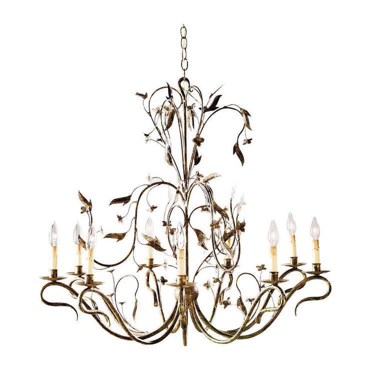 Nine Light Arcadia Gold Leaf Chandelier