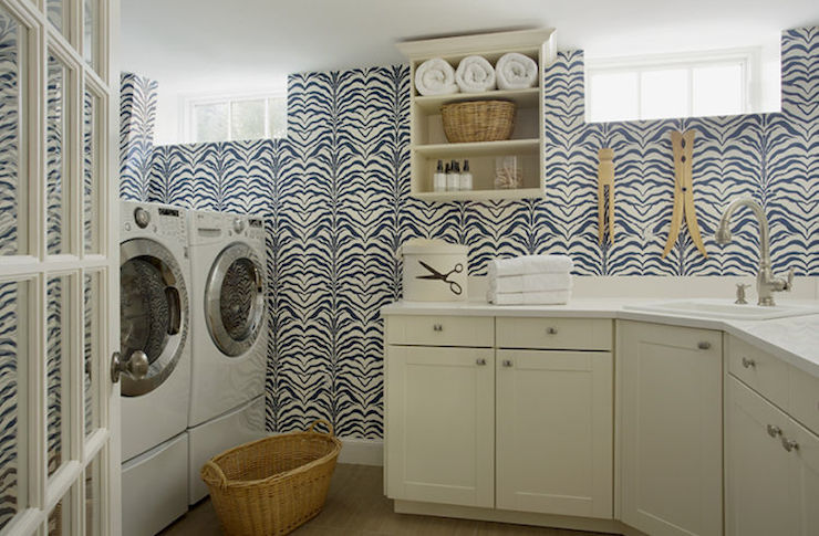 Wallpaper For Laundry Rooms Contemporary Laundry Room
