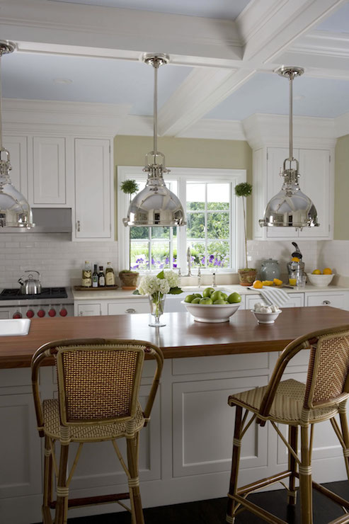 Painted Coffered Ceiling Cottage Kitchen Smith River KItchens