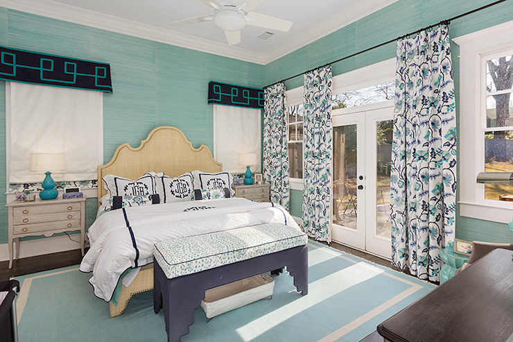 Teal Grasscloth Transitional Bedroom Colordrunk Design