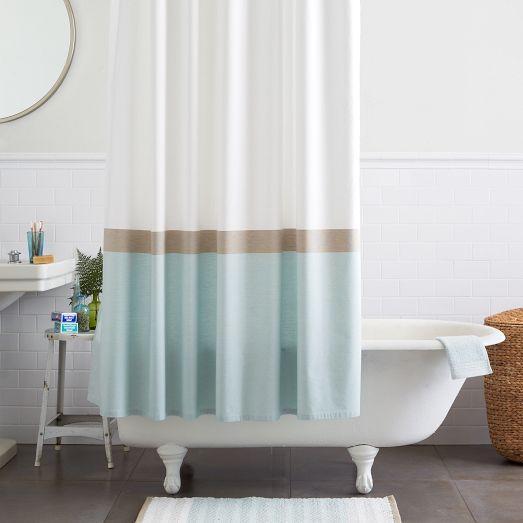 horizon stripe blue and white shower