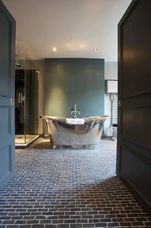 Black Brick Floor Transitional Bathroom The Wheatsheaf Inn