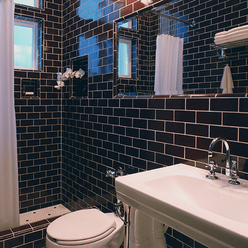 chocolate brown subway tile with white