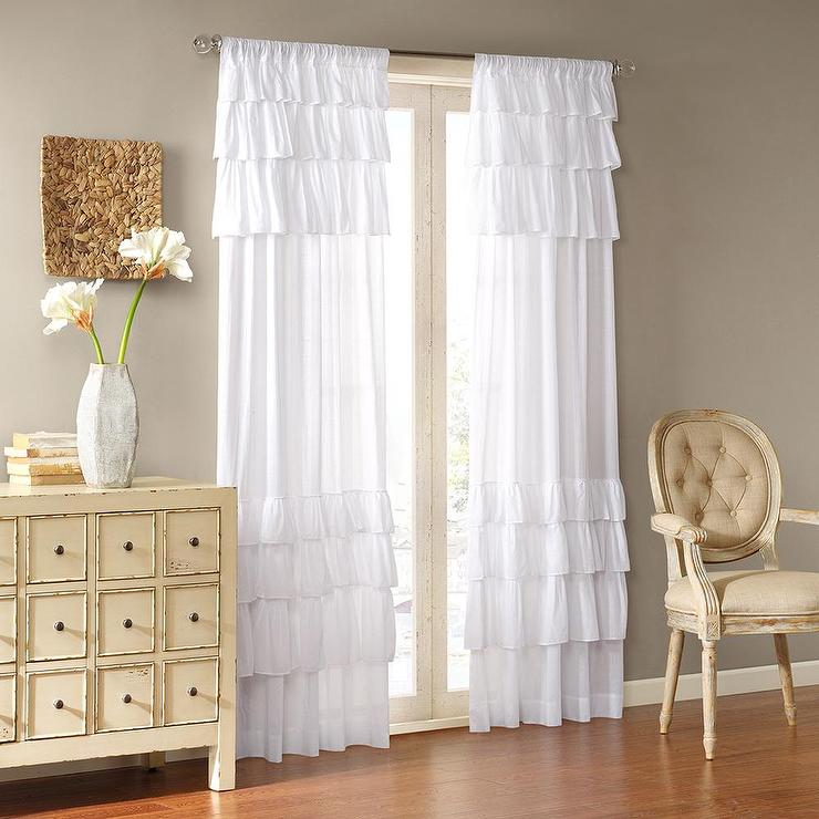 Joycelyn Cotton 84 Inch Oversized White Ruffle Curtain Panel