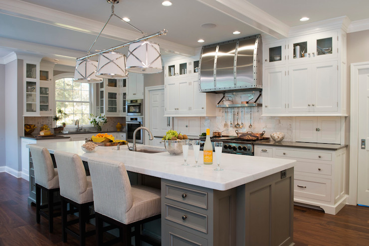 Grey Kitchen Island Transitional Kitchen Kitchens By