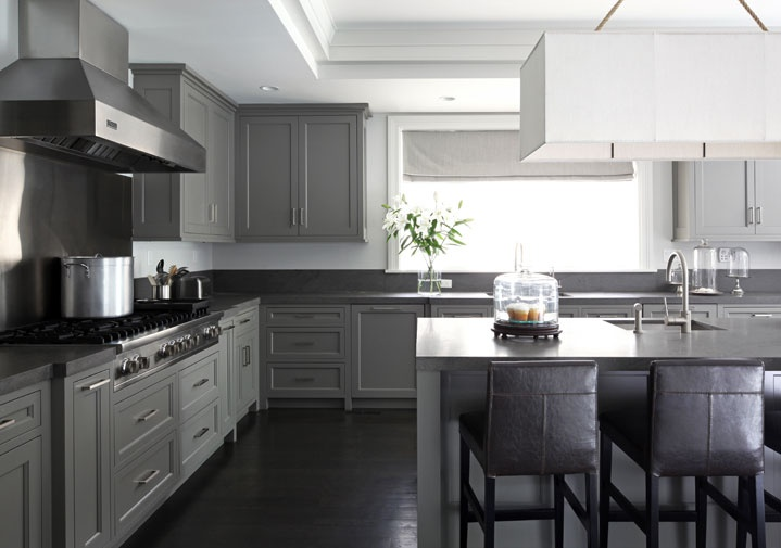 Grey Kitchen Cabinets Black Countertop Novocom Top