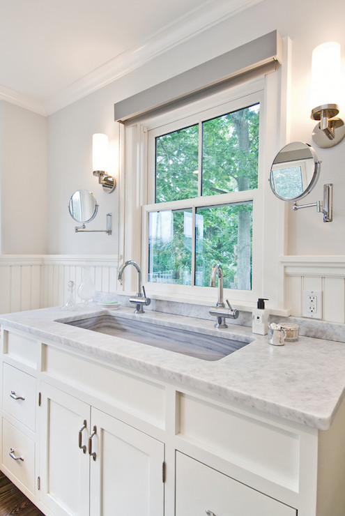 Washstand Under Window Transitional Bathroom Benco