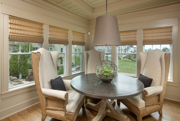 Concrete Top Dining Table Transitional Dining Room