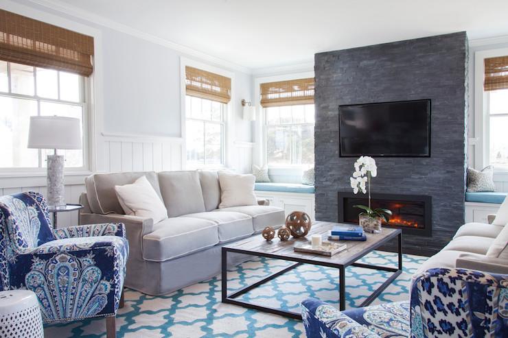 Fireplace Between Window Seats Transitional Living