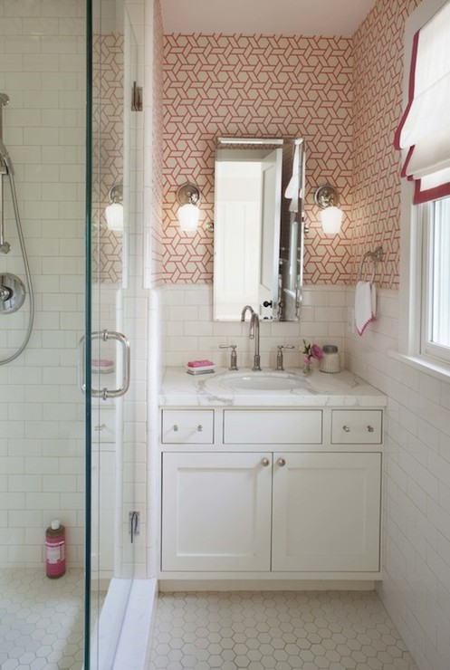 White And Pink Bathrooms Transitional Bathroom Lilly