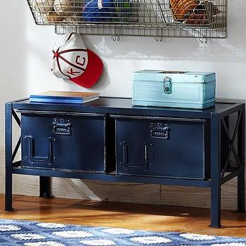 Storage Bench Upholstered In Fashion Fabrics Blue Target