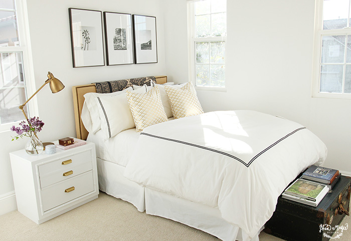 Black And White Stripe Headboard Transitional Bedroom