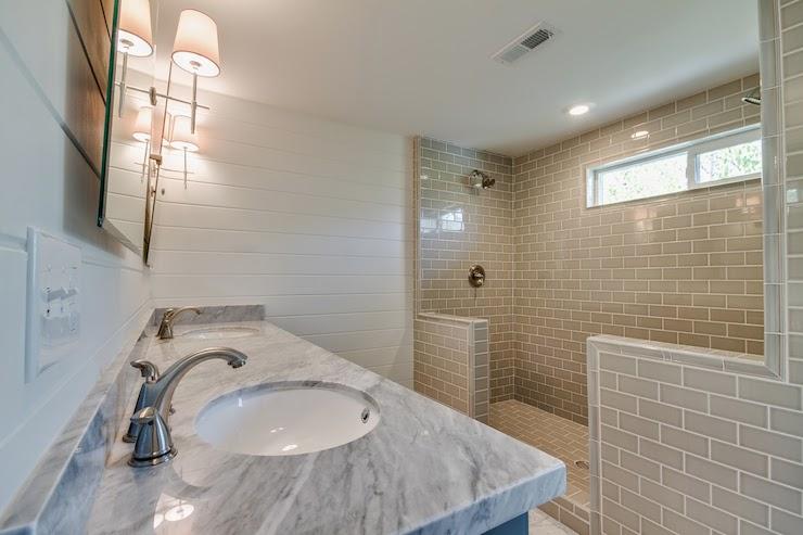 Shower For 2 Transitional Bathroom White Amp Gold Design