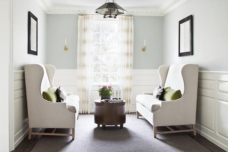 Blue Half Painted Living Room Walls Design Ideas