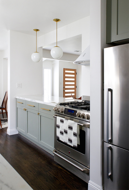 Gray Base Cabinets Transitional Kitchen Farrow And