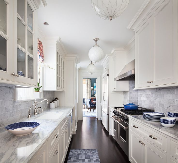 White Galley Style Kitchen With Pink Rug Transitional