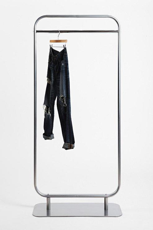 standing silver clothing rack