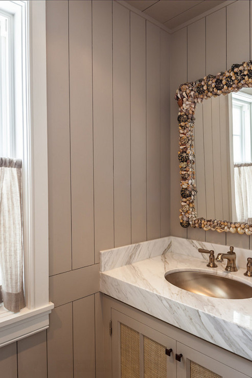 Seashell Mirror Cottage Bathroom Benjamin Moore Revere Pewter Laura Hay Decor Design