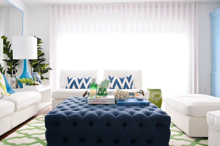 Navy Tufted Ottoman Living Room Maria Barros